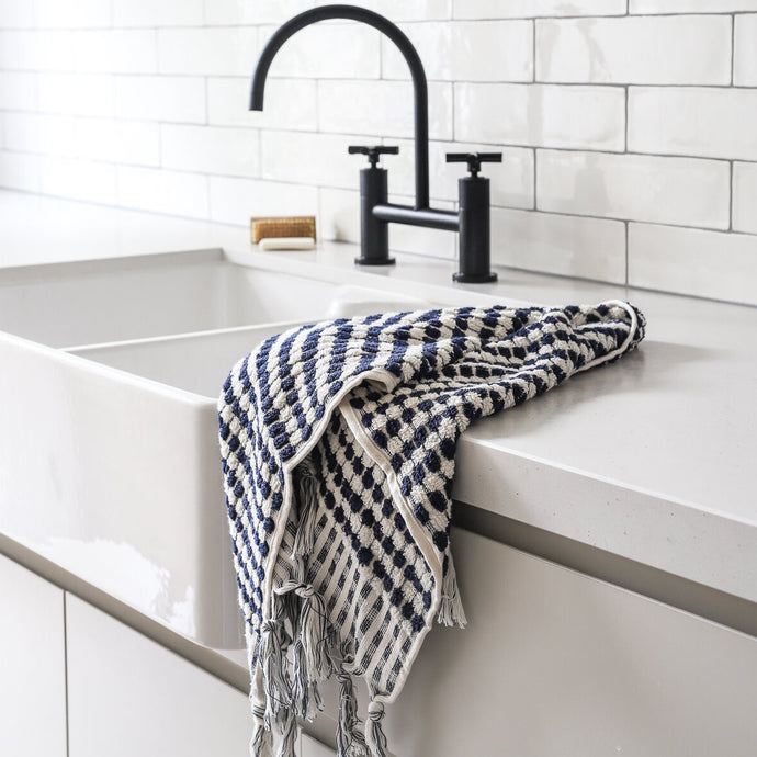 Pom Pom Navy & White Hand Towel