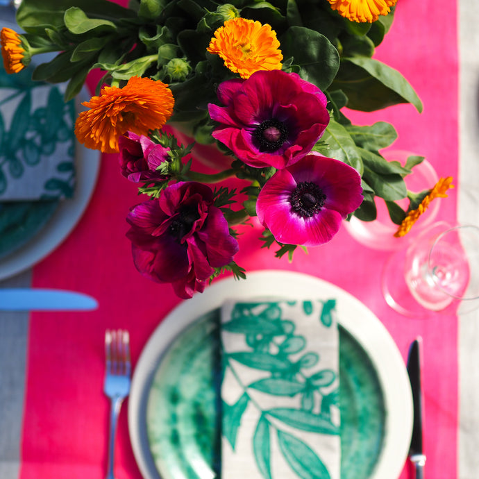Neon Pink Colour Block Linen Tablecloth