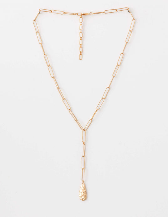 Gold Teardrop Chain Necklace