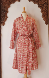 Arabella Dressing Gown Red Floral