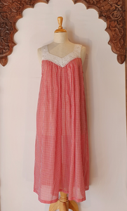 Arabella Red Gingham Lace V-Neck Nightie