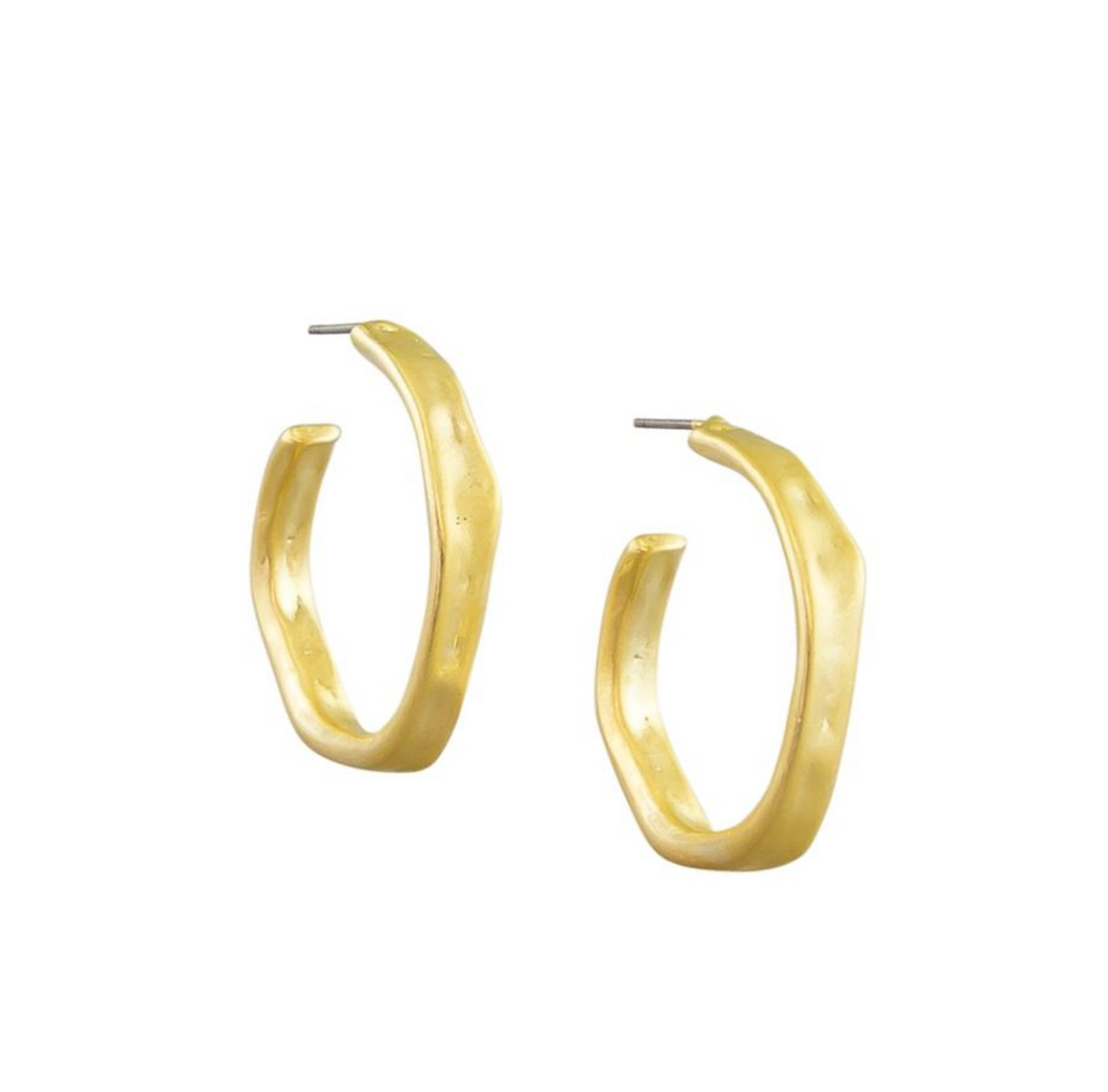 Gold Bent Hoop Earrings