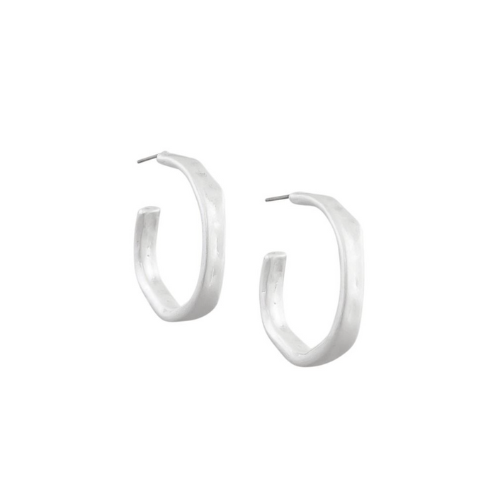 Silver Bent Hoop Earrings