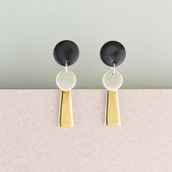 Black & Gold Porcelain Tassel Earrings