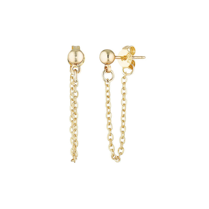 Gold Ball & Chain Earrings
