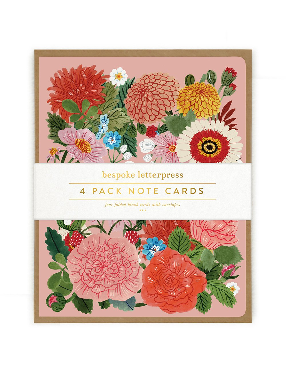 Folk 4 pk Floral Card Set