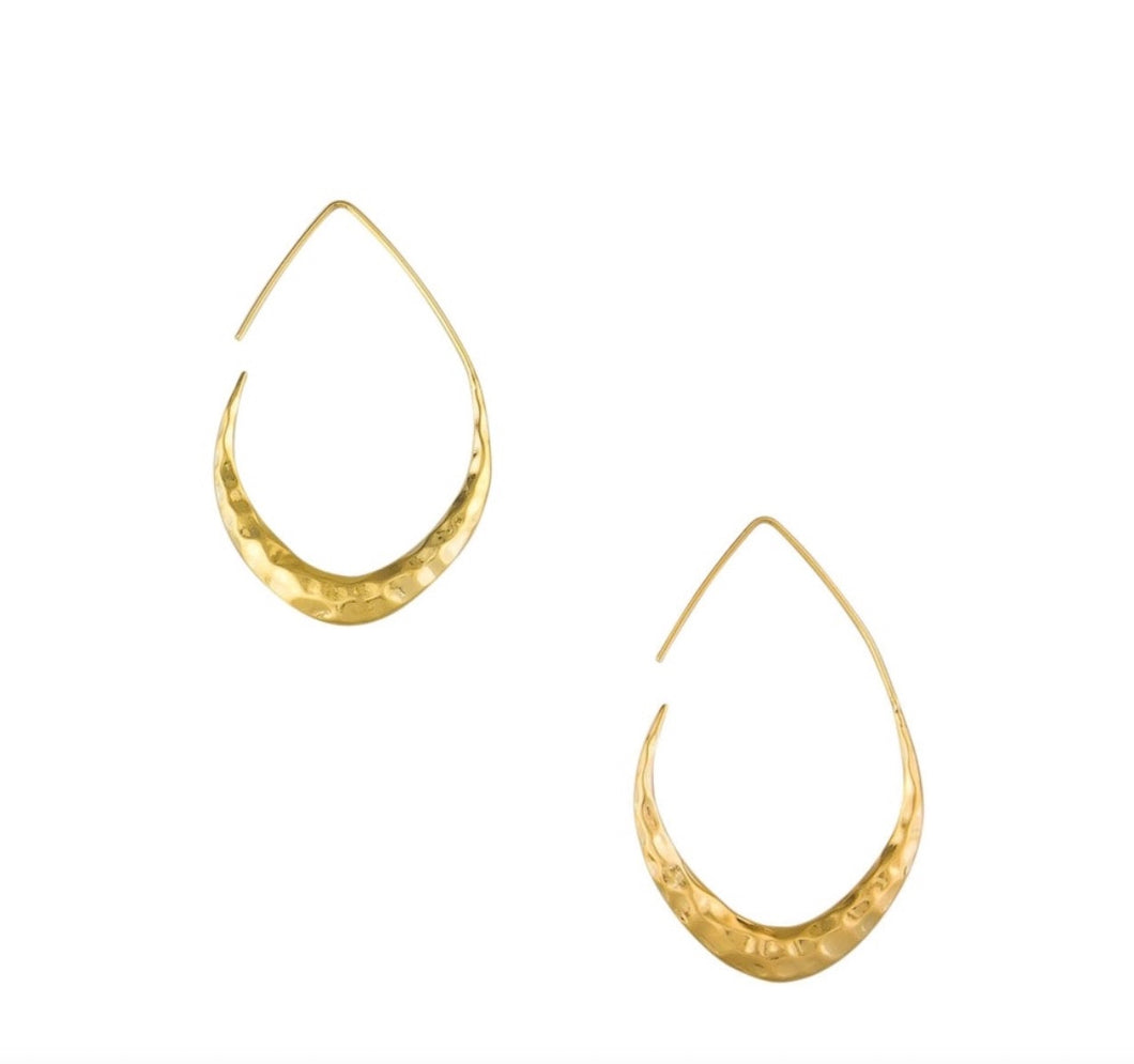 Gold Hammered Moon Hoop Earrings