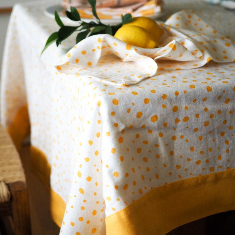 Yellow Pebble Linen Tablecloth