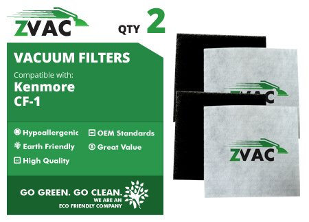 ZVac 2 Kenmore CF1 Sears Progressive Allergen Foam Filters; Fits Kenmore Progressive & Whispertone; Replaces Kenmore Part # CF1, CF-1, 20-86883, 86883, 2086883