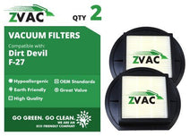ZVac 2 Dirt Devil F-27 HEPA Filters Generic Part Replacement Compatible 1LY2108000, 1-LY2108-000 Fits: Dirt Devil Pets Bagless Upright Models UD40305, UD40275, M140000