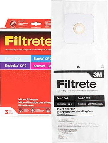 3M Filtrete Electrolux/Kenmore/Eureka Central CV-2 Synthetic Vacuum Bag, Red