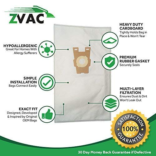 ZVac 10Pk Compatible Style F Cloth Vacuum Bags Replacement for Kirby Vacuum Bags. Fits all Ultimate G Diamond Edition, Ultimate G Series, Gsix, Sentria (Year 2009+). Replaces Part# 204808