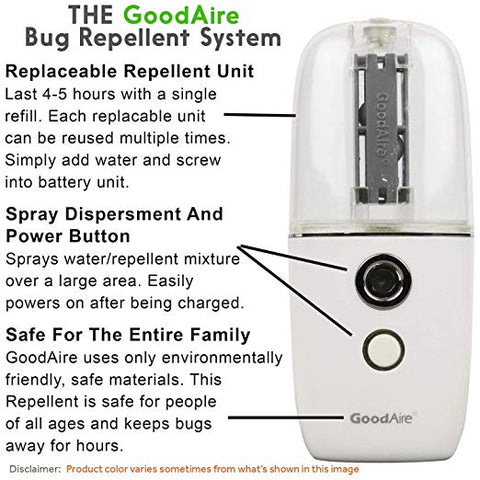 Goodaire P1 Mosquito Fly Bug Repellent Travel Size Portable USB Rechargeable Fogger, Automizer, Humidifier, Diffuser, and Air Freshener
