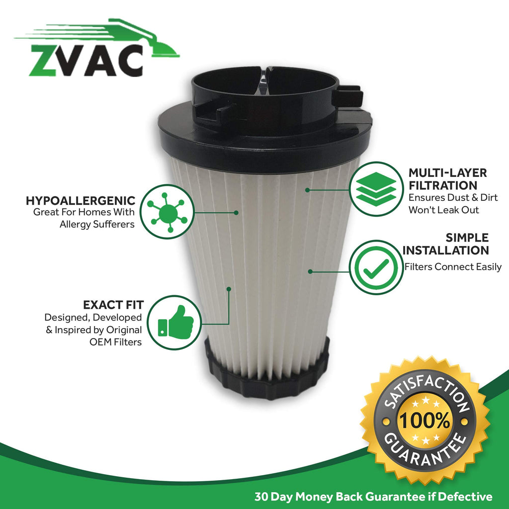 ZVac 4Pk Compatible Filters Replacement for Dirt Devil F2 HEPA Filter. Replaces Parts# 3-SFA115-00X, F929, 80-2310- 04. Fits: Power Stick Upright