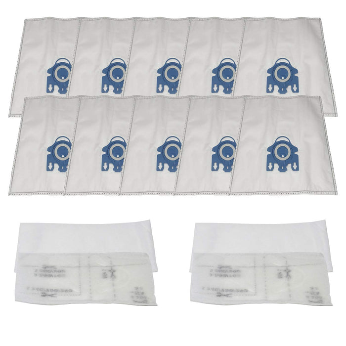 ZVac (10 Bags + 4 Filters) Compatible Vacuum Bags/Filters Replacement for Miele GN Airclean Vacuum bags