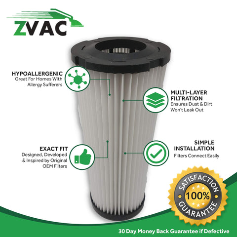 ZVac 4Pk Compatible Vacuum Filters Replacement for Dirt Devil F1 Filter. Replaces Parts# F928, 2JC0280000, 3JC0280000. Fits: Dirt Devil Breeze