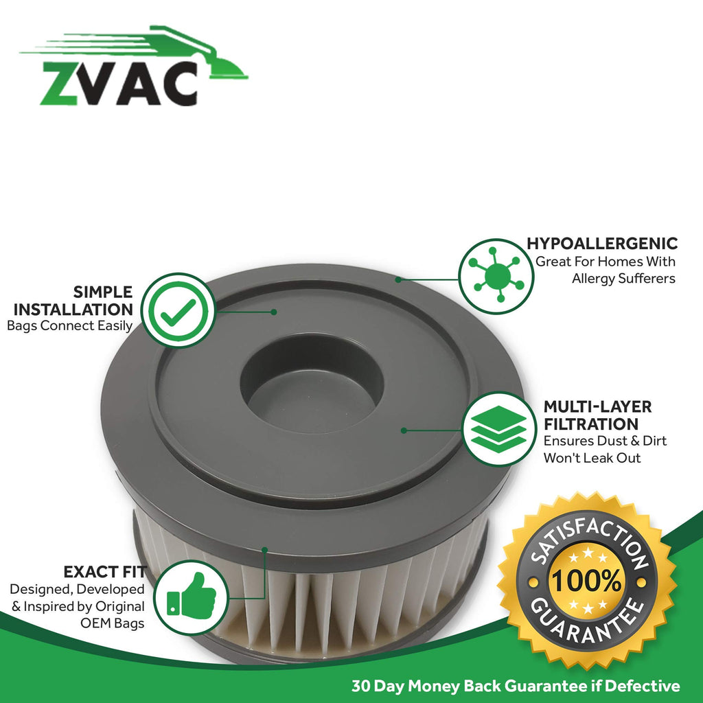 ZVac 2 F15 HEPA Filter Replacement Compatible Dirt Devil F15 Filter 2pk 3-SS0150-001, 1SS0150000 Fits: Extreme Quick Vac M084505, Easy Clean UD40045