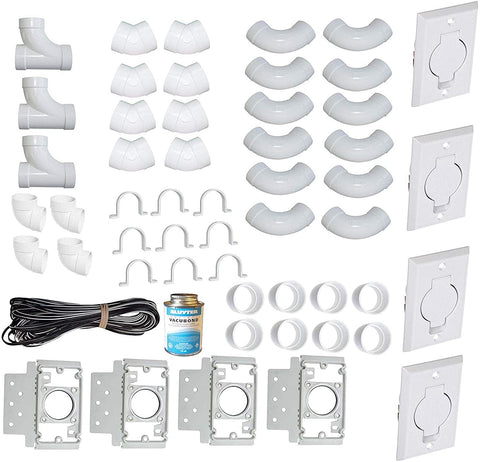 ZVac Universal Central Vacuum 4 Inlet Installation Kit Pre-Packaged with Wall Plates, Elbows, Brackets, Couplers, Sweep Ts, Pipe Straps Compatible with Central Vacuum Systems NuTone, Beam & More