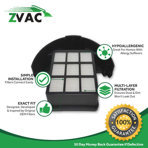 ZVac Hoover Windtunnel T-Series Rewind Upright Vacuum Cartridge HEPA Filter, Item Replaces Hoover Part # 303172001, 303172002