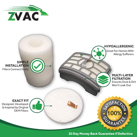 ZVac 1Pk Compatible Filter Kit Replacement for Shark NV500 Filter Kit. Replaces Parts# XFH500, XHF500, EU-18525