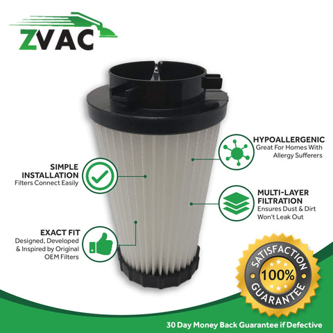 ZVac 2Pk Compatible Dirt Devil F2 HEPA Filter. Replaces Part Numbers 3-SFA115-00X, F929, 80-2310- 04 Fits: Power Stick Upright Stick Vacuum