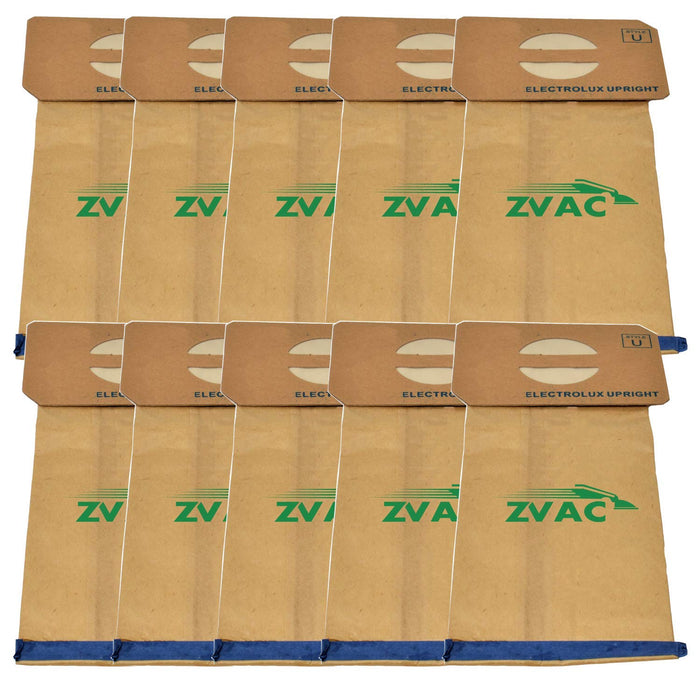 ZVac 10Pk Compatible Vacuum Bags Replacement for Electrolux Vacuum Bags Style U. Replaces Parts# 138FP, 138. Fits Electrolux and Aerus Uprights