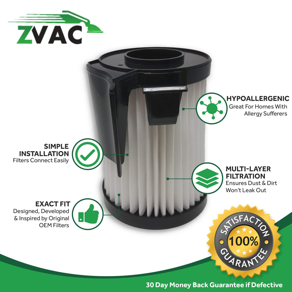 ZVac 4Pk Compatible Filter Replacement for Eureka DCF-10,Amp & DCF-14 HEPA Filters. Replaces Parts# DCF14, DCF10, 62731A, 62731b Fits: 430 Series Lightweight Uprights & Stick Vacuum 431A, 426A, 431AX