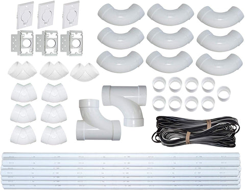 ZVac Central Vacuum Pipe & Inlet Installation Kit with 75 Feet of Pipes & Wires Pre-Packaged with Wall Plates, Elbows, Brackets, Couplers & Sweep Ts Compatible with Central Vacuum NuTone, Beam & More
