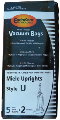 5 Miele Upright Style U Vacuum Bags + Filters, with Hygienic Self-closing Seal and Filters, Allervac, Upright Vacuum Cleaners, 07805130, 7282050 4002514835983, 780513000017, S7280 , S7280, S7260