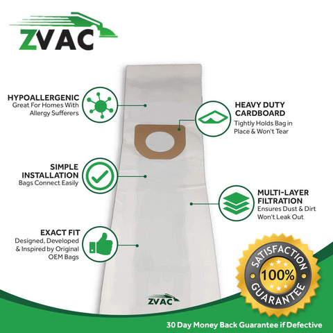 ZVac 10Pk Compatible Vacuum Replacment for Hoover Type A Vacuum Bags. Replaces Parts# 43655010,4010001A, 4010324A, 4010100A