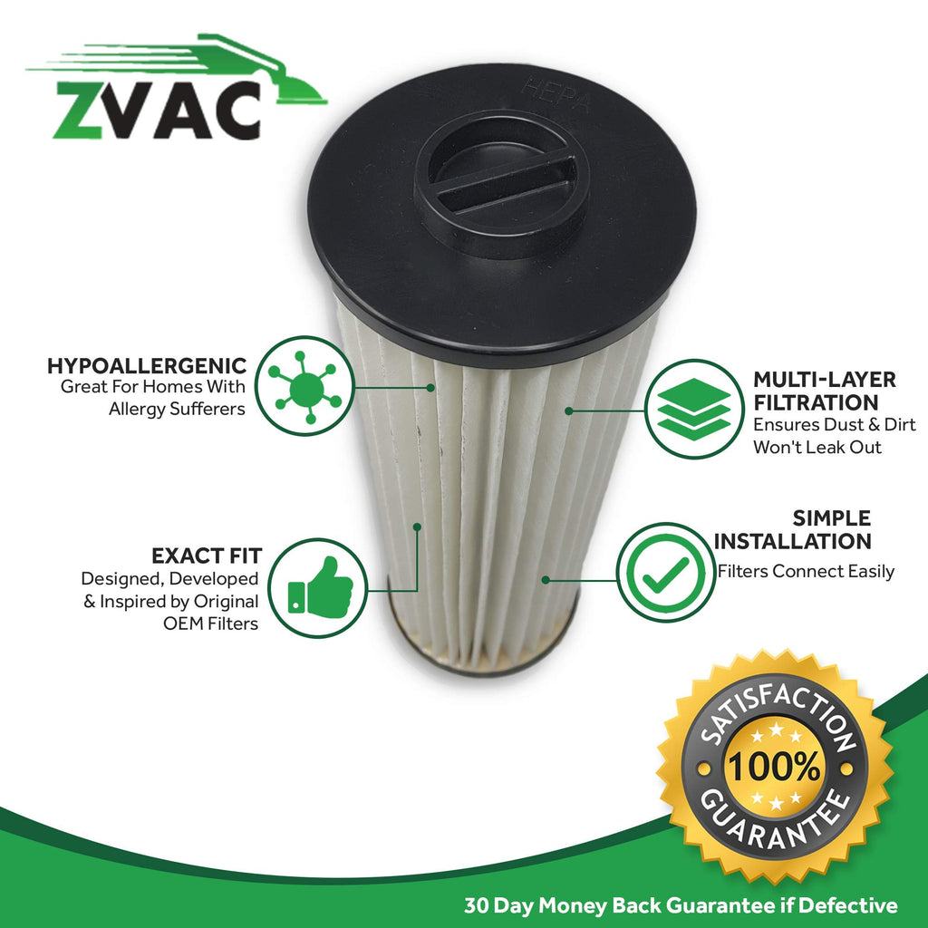 ZVac 4Pk Compatible Filters Replacement for Hoover Windtunnel HEPA Filters. Replaces Parts# 471062, 43611042, 42611049, F923. Fits: All Hoover Bagless Upright Model with The Twin Chamber System