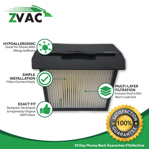 ZVac 2 Dirt Devil Replacement F13 HEPA Filters Generic Compatible Numbers 3LK0540001, 2-LK0540-000, 2LK0540000, 46034891573, 473960