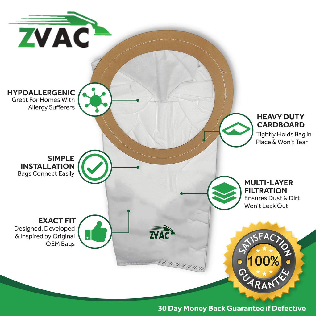 ZVac 15 Replacement Compatible Proteam Premium Cloth Vacuum Bags Generic Part Replaces Part Numbers 100331 Fits: Proteam Coach Vac, Mega Vac