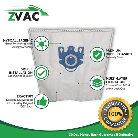 ZVac (5 Bags + 2 Filters) Compatible Vacuum Bags/Filters Replacement for Miele GN Airclean Vacuum bags Fits all Miele Vacuum Cleaners