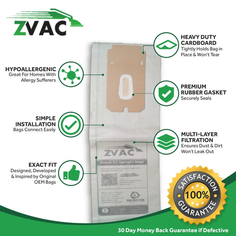 ZVac 8pk Compatible Vacuum Bags Replacement for Oreck CC Vacuum Bags & Oreck XL Vacuum Bags. Replaces Parts # CCPK8DW, PK2008, 59220.