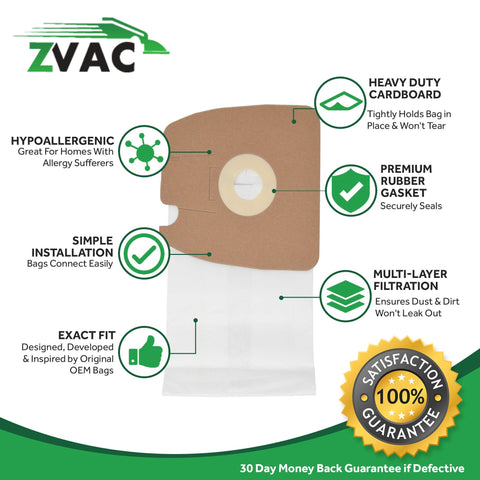 ZVac Comparable Eureka MM Bags Replacement Eureka Mighty Mite Vacuum Bags Generic Allergy Bags 10pk