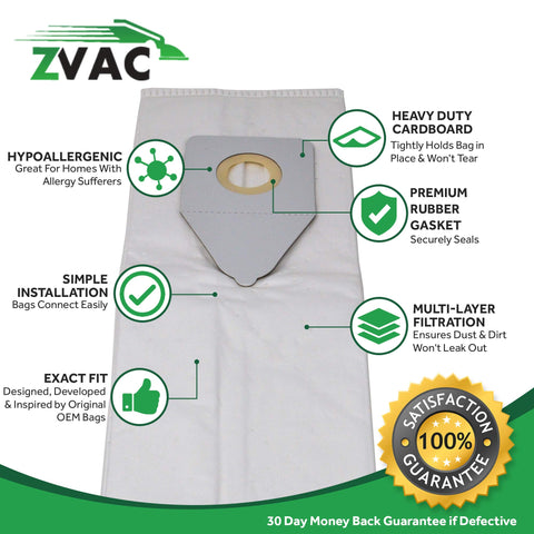 ZVac Compatible Panasonic U6 Replacement Generic Premium Bags (6, PAN U6)