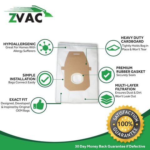 ZVac 10Pk Compatible AH1000 Replacement Hoover Q Vacuum Bags HEPA Type Style Replaces Hoover Platinum Q-HEPA Media Vacuum Bag