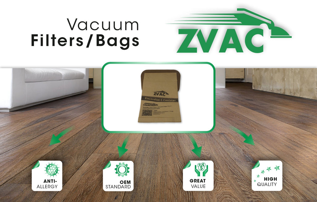 ZVac 10-Pack Generic Electrolux Type C Vacuum Bags. Fully Compatible with Most Electrolux Canister vacuums. Made
