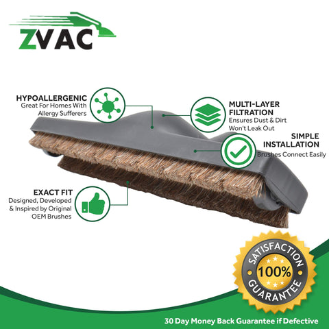 "ZVac Compatible Universal Floor Brush (32MM) Replacement for All 1"" & 1/4"" Fittings. Fits Most Vacuums Canisters, Uprights & Central Vac Systems"