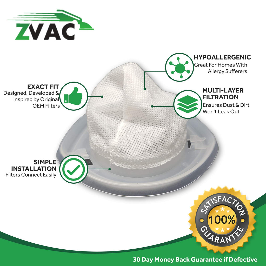 ZVac 4 Black Decker EVF100 Filter Generic Part by Replaces Part Numbers VF100H, VF-100H, VF100, VF-100, 968 Fits: All 9.6 Volt CHV Series Cordless Hand Vacs Models CHV1400