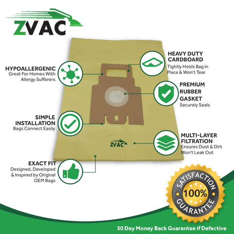ZVac Compatible Hoover H30 Replacement Hoover H30+ Vacuum Cleaner Bags Fits Hoover 40101001 + 09169855