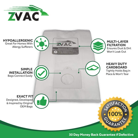 ZVac Compatible 50558 Replacement for Kenmore 15Pk Generic Kenmore Canister Vacuum Bags Part # 50410 50403 5055 50558 50557 for Kenmore Canister 5055