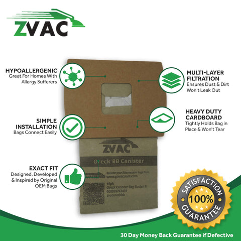 ZVac 15 Oreck Buster B Vacuum Bags - 15 Pack - Similar to Oreck Part # PKBB12DW - Made