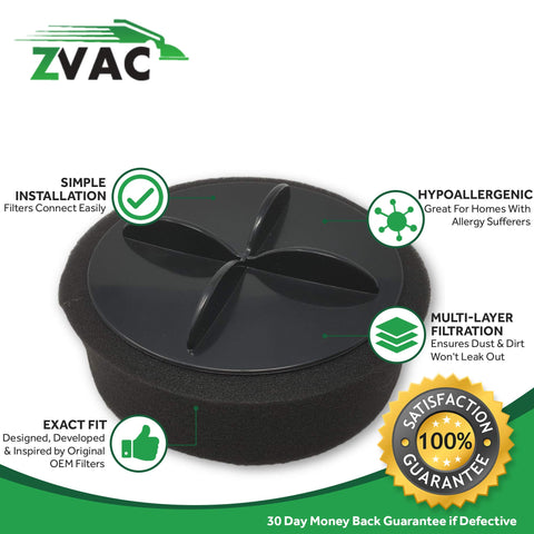 ZVac 4pk Compatible 32R9 203-1464 Style 9/10/12 Replacement Bissell Inner & Outer Filter for Bissell Bagless Upright Vacuums