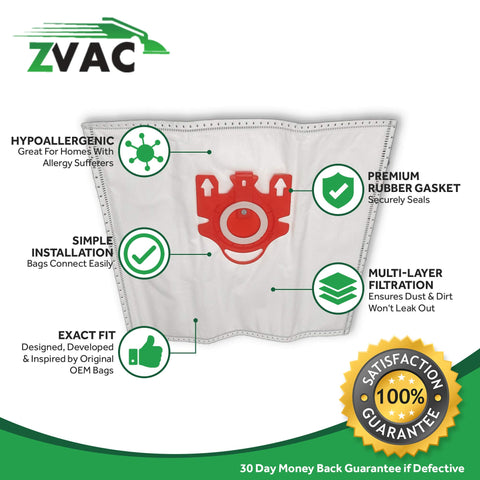 ZVac (10 Bags + 4 Filters)Compatible Vacuum Bags/Filters Replacement for Miele FJM Airclean Vacuum Bags.Replaces Part# 7291640.Fits S241-S256i