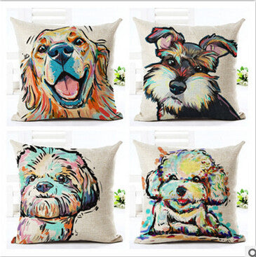 Colourful Terrier Bull Dog Pillow Case