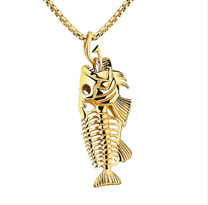 Fashion Fish Bone Pendant Necklaces