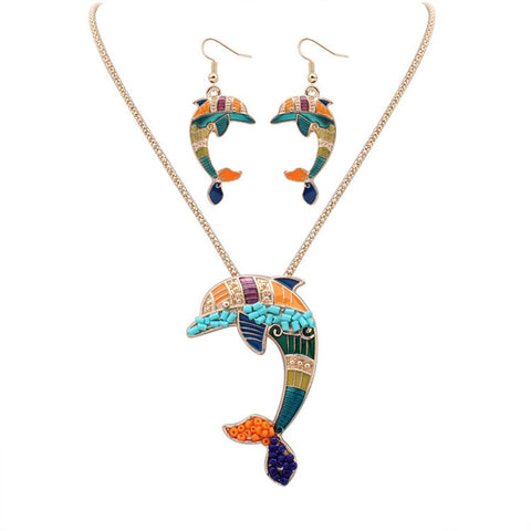 Dolphin Necklace Earring Jewellery Set