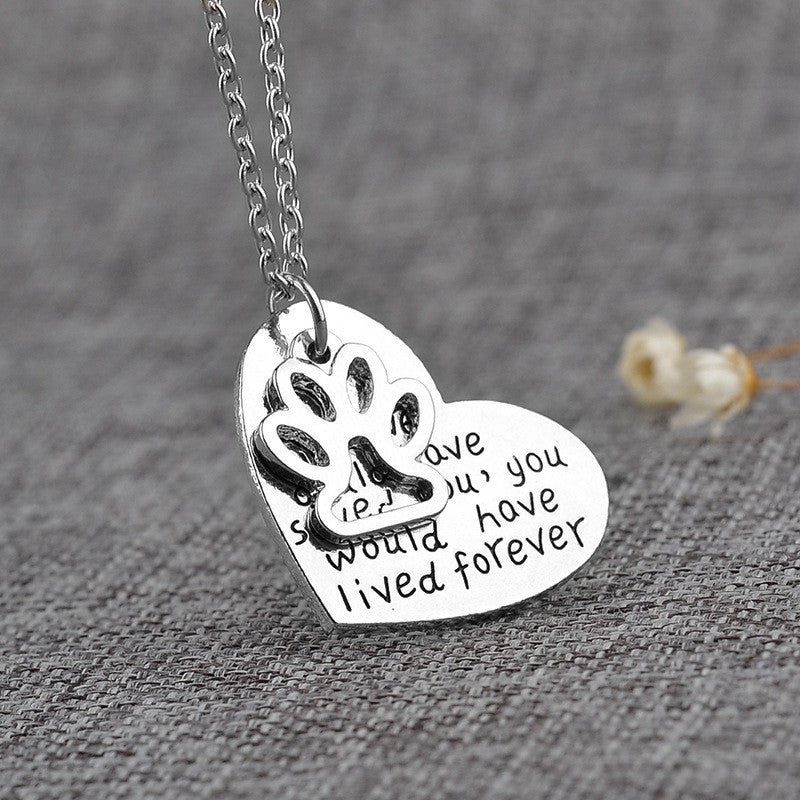 Dog Paw Print Heart Pendant Necklace